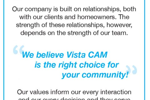 Vista Community Association Management — 1/6 Page Vertical ad